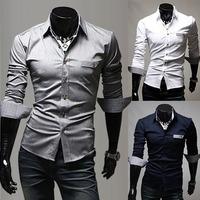 2014 British Style Casual Fashion Unique Pocket Design Men's Long-Sleeved Shirt Men's Casual Shirts CS935