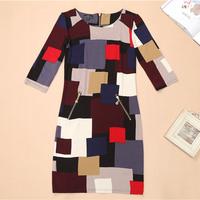 Russian Dress XXL Plus Size 2014 New Vestidos De Festa Women Cotton Print Autumn Winter Dress Vintage Printed Casual Dress AR001