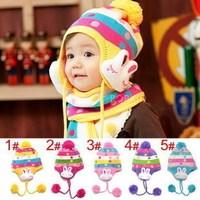 South Korea's baby hat children baby hats Double jacquard dots rabbit ear protection caps Warm hat single