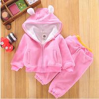 2014 new autumn children's pink sweatshirts + kids trousers fashion flower girls hoodies with pants kids coat outerwear