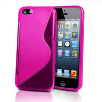 8 Color S line Wave Soft Tpu Gel Back Skin Cover Case for Apple iPhone 5C black clear deep blue purple red white free shipping