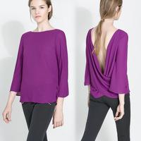 Europe Sexy Purple Chiffon Blouse femininas Women Cut Out Back Backless t shirt women Three Quarter Sleeves Loose Tops