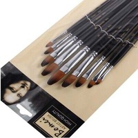9 pcs nylon hair round head paint brush art supplies oil painting brush promotional product free shipping