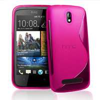 6 Colors S line Wave Soft Tpu Gel Back Skin Cover Case for HTC Desire 500 506e black clear hotpink purple red white