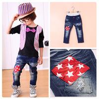 2014 autumn fall children's clothing boys grils kids fashion patchwork stars jeans pants 3T-10