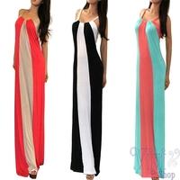 New Fashion Women Casual Long Dress 2014 Summer Ladies Sexy Sleeveless Multi Color Block Striped Maxi Dresses Black White
