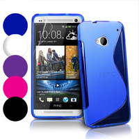 5 Colors S line Wave Soft Tpu Gel Back Skin Cover Case for HTC One M7 black blue hotpink purple white