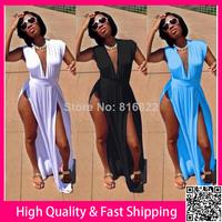 Black White Deep V Cut Side Sexy Dress 2014 Women Summer Bodycon Long Dress Novelty Party Club Dresses Plus Size XXXL