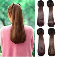 Free shipping 2014 Europe pop pony tail hair piece synthetic ponytail ribbon hair extension,straight long ponytails for women