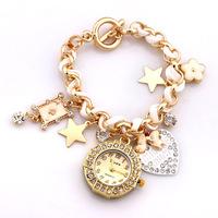 New 2014 Fashion Women Rhinestone Watches Lady Bracelet Wristwatches Gold Acrylic Quartz Watch Star Heart Pendant Discount