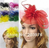 2014 Fascinator Hair headband with Feathers and Vintage French Veiling 8 color ladies day - choose any colour Free shipping