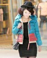 2014 block color women's thickening design short down coat