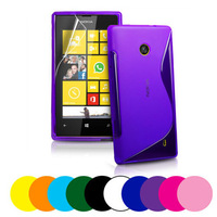 7 Colors S line Wave Soft Tpu Gel Back Skin Cover Case for Nokia Lumia 520 black, clear, deep blue, hotpink, purple, red, white