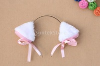 New 2014 Brand New  Animal Cosplay Cat Ear Headband with Bell - White Free Shipping