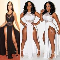 Summer dress 2014 women Bandage Bodycon Dress on both sides of the bifurcation bare legs sexy nightclub dress