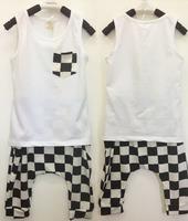 Retail Boy summer  plaid  Vest  and Cross pants  set