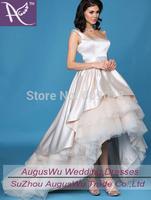Asymmetrical Scoop Satin Ivory Sashes Backless Short Front Long Back Wedding Dress Custom Size Custom Color