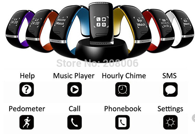 Wholesale L12S OLED smart Watch WristWatch Bluetooth 3.0 Bracelet for IOS iPhone Samsung Android Phone Call Answer/SMS Remind(China (Mainland))