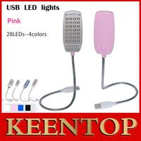 1Pcs/Lot Ultra Bright Free Shipping Flexible Brightness Mini 28 LED USB Light Lamp for Notebook Computer Laptop PC  Pink