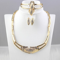 2014 Gold Plated rhinestone Jewelry Necklace Bangle Earrings Ring Wedding Party Dress Accessories Costume Free Shipping