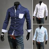 2014 Fall Minimalist Style Hit Color Plaid Shirt Men Long Sleeve Casual Shirt Pocket  Mens Dress Shirts CS950