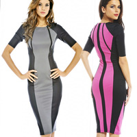 2014 Dropshipping Newest Women O-Neck Slimming Patchwork Casual Knee-Length Bodycon Pencil Dresses S-XL