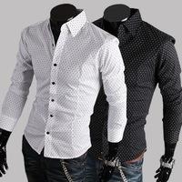 England Style Casual Men's Fashion Classic Dot Cotton Long-sleeved Shirt Slim Mens Dress ShirtsCS952