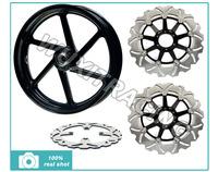 3.5X17 Alloy Front Wheel Rim & Front Brake Disc Rotor & Rear Brake Disc Rotor For VFR 750 1994 1995 1996 1997 1998 Black