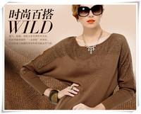 2014 New fashion Autumn Winter Women Long Sleeved Baggy Sweater Temperament Cardigan Loose Batwing Sleeve Rhinestone Sknitwear