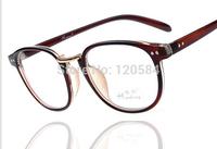 NEW 2014 Reading Glasses Restore Rivets Round Plastic Frames Resin Glasses Mirror Flat Glasses Men and Women Eyes Wear