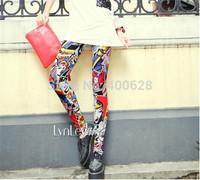 Free Shipping Punk Street Womens Graffiti beauty Leggings Comic Patterns Pencil pants