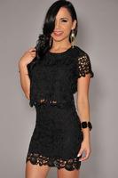 new 2014 fashion Summer  women High Street dress Sexy Black Crochet Two Piece Mini Dress Set LC21609