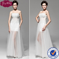 Goingwedding 2014 New Arrivals Beading Sexy See Through Corset Bodice Strapless Party Dress With Tull See Through Skirt GS32009