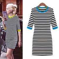 FanShou Free Shipping 2014 Summer Dress European Fashion Women Dress Half Sleeve O Neck Contrast Color Casual Striped Dress 5645