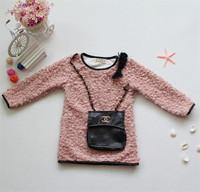 Promotion Children wool sweater dress warm pocket plus decorative fashion