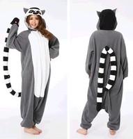 New! Animals Fashion Madagascar Ring-tailed Lemur Fancy Dress Coaplay Costumes Adult Onesies Pajamas Pyjama