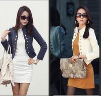 New 2014 Autumn Korean Wild Slim collar Double-breasted blazer Women blaser Feminino Short Small suit Jacket Chaquetas mujer