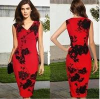 2014 New Women Summer Elegant Sleeveless V-neck Party Dresses Floral Printed Cotton Blend Knee-Length Pencil Dresses CD1386