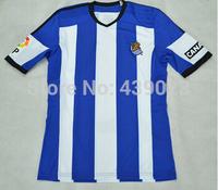 Top Thailand 2014/15 Real Sociedad home blue white La Liga Men soccer jerseys Football FutbolJust shirt Free Shiping