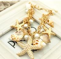 2014 Ocean Style Multi Starfish Sea Star Conch Shell Pearl Chain Beach Bracelet Bangle Novelty Hot Selling XY-B424
