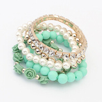 2014 Trendy Fashion Candy Color Pearl Rose Flower Multilayer Charm Bracelet & Bangle For Women Fashion Jewelry XY-B428