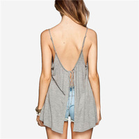 Summer scoop neck spaghetti strap backless casual loose Tops blouses camisole