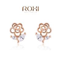 women ROXI Gift Classic Genuine Austrian Crystals Fashion Red/ Green Zircon Water Drop Earrings Hot Sale