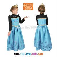 Free shipping 2014 Autumn New Arrival for girls frozen anna costume dress,princess dress,cosplay dress,5pcs/lot