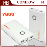 Brand UONIPOW UP02 7800mAH External Double 2 USB Port Power Bank for for Iphones, Ipads, Tablet PC,PSP , All Phones