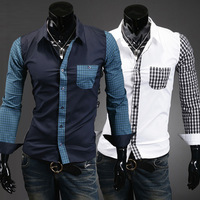 Men's New Winter 2014 Men's Luxury Fashion Lining Casual Long-sleeved Shirt Slim Mens Dress Shirts CS958