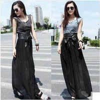 Summer 2014 Fashion Casual Women Loose Vestidos Long Patchwork Cowboy Chiffon Pleated Dress Sleeveless Sexy Maxi Dresses Novelty