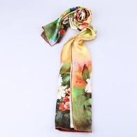 2014 Women's New Crepe Satin Plain 100% Silk Scarf Inkjet Printed Flowers, Lengthen Elegant lager silk scarf women  AL1665