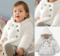 2014 Brand Autumu/Winter Kids Jackets Coats for Girls White Hooded Princess Plush Coat Children Outerwear Baby Clothing