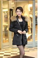 2014 free shipping new long down jacket, spell color zipper jacket big yards, big raccoon fur collar down jacket
